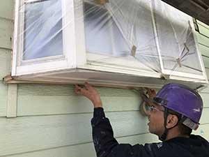 嬬恋村の別荘 外壁屋根塗装養生
