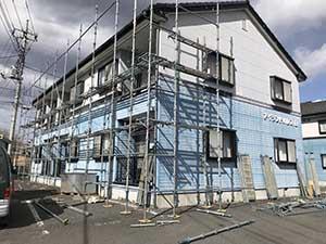 高崎市沖町アイランドパレス外壁塗装 仮設足場工事