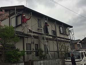 藤岡市 屋根外壁塗装 足場設置
