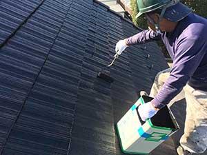 吉岡町 屋根上塗り