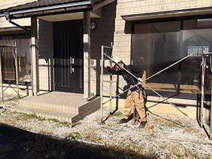 前橋市岩神町 外壁屋根塗装 足場組立
