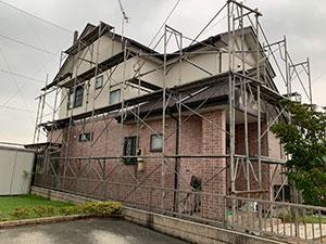 伊勢崎市茂呂町 屋根外壁塗装 足場