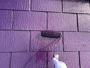前橋市天川大島町 屋根上塗り2回目