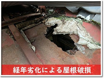 経年劣化による屋根破損