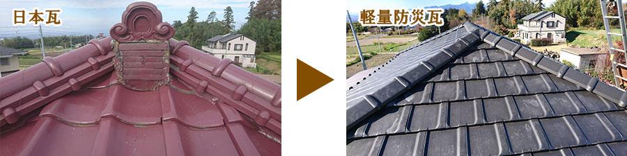 和瓦から軽量防災瓦へ葺き替え