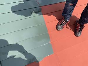 伊勢崎市 屋根塗装上塗り